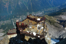 Aiguille Du Midi Peak And Roof Of Cable Car Station Seen From Skywalk Platform, Mont Blanc Massif, Chamonix, French Alps
