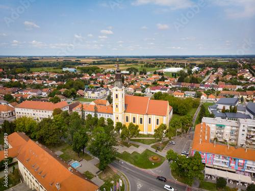 Fototapeta Virovitica, Croatia / 25th September 2020 : Church of st Rok and cityscape in Virovitica, drone aerial obraz