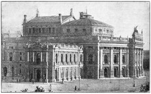 The Burgtheater (after 1888) In Vienna, Austria. Illustration Of The 19th Century. White Background.