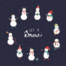 Cute Snowmen Set With Let It Snow Quote. Christmas Greeting Card, Vector Illustration