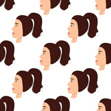 Seamless Pattern With A Cute Avatar Of A Matchless Girl On A White Background. Profile Of A Young Woman In Side View In Flat Style. Happy Relaxed Faces Of People. Stock Vector Illustration