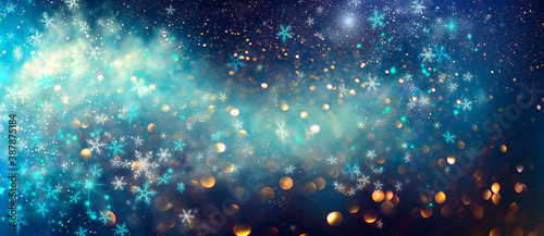 Tela Winter Christmas and New Year background, backdrop with glowing blue stars, snowflakes, holiday garland, magic
