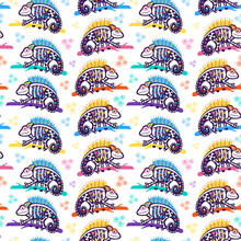 Chameleons Skeletons Seamless Pattern