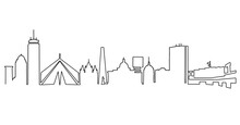 Boston Skyline Line Drawing. Simplified Drawing Includes All The Famous Landmarks And Towers.