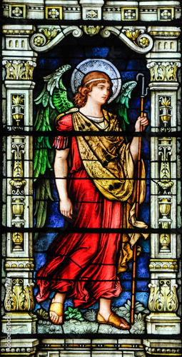 Canvas Archangel Raphael, stain glass