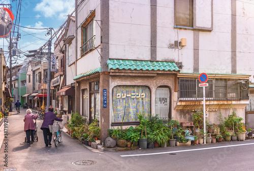 Fotografia, Obraz tokyo, japan - october 20 2020: Elderly women with bicycle and sylver rollator c