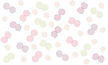 Spiral Seamless Pattern, Chocolate, Pink And Green Spiral Stitch On White Background. Idea For Paper, Cover, Fabric, Interior Decor And Other Users.