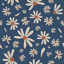 Daisy Flower Seamless Pattern Vector Design In Hand Drawn Style.  Vintage Spring Daisy Florist Printable For Fabric, Towel, Wallpaper, Retro Background