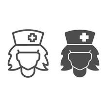 Nurse Head Line, Solid Icon, H...
