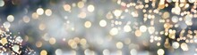 Christmas New Year Background Banner With Golden Bokeh Lights