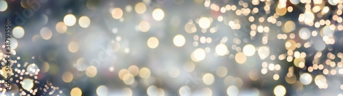 Obraz Christmas New Year background banner with golden bokeh lights - fototapety do salonu