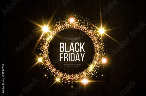 Obraz Black friday banner mockup.  A festive golden, glowing frame that is strewn with gold dust. - fototapety do salonu