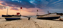 Colorful Pair Of Boats During Sunset Time At Benaulim Beach