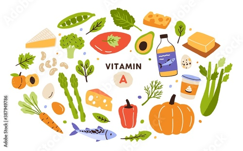 Obraz Collection of vitamin A sources. Healthy food containing carotene. Dairy products, greens, vegetable, fruits, fish. Dietetic organic products, natural nutrition. Flat vector cartoon illustration - fototapety do salonu