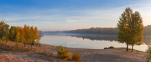 Panorama Of Plain River With S...