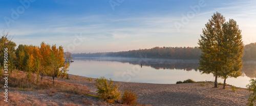 Panorama of plain river with sandy bank autumn at sunrise Fototapeta