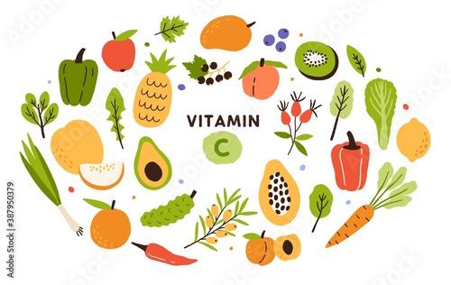 Fototapeta Collection of vitamin C sources