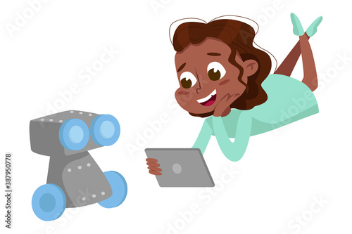 Cute Smiling African American Girl Programming Smart Robot Kid Programmer Character Cartoon Style Vector Illustration Buy This Stock Vector And Explore Similar Vectors At Adobe Stock Adobe Stock