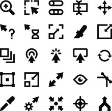 Selection, Cursors, Resize, Move, Controls And Navigation Arrows Vector Icons