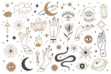 Mystic Line Elements. Magic Contour Icons, Hand Drawn Doodle Minimalistic Witch Fairy Golden And Mysterious Objects, Hands And Cristal, Snake And Moon, Star And Clouds Vector Collection