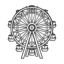 Ferris Wheel Sketch Raster Illustration