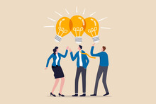 Sharing Business Ideas, Collaboration Meeting, Sharing Knowledge, Teamwork Or People Thinking The Same Idea Concept, Smart Thinking Businessmen People Office Workers Team Up Share Lightbulb Lamp Idea.