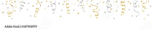 Obraz Celebration background with ribbons isolated on white. Falling confetti, holiday border. Gold and silver decoration. For Christmas, New Year banners, birthday or wedding invitations, party flyers. - fototapety do salonu