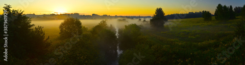 Fototapeta Poranne mgły. Wschód słońca. Panorama. Sunrise. obraz