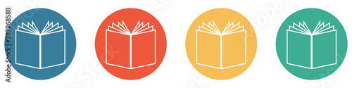 Photo Bunter Banner mit 4 Buttons: Buch, lesen, zeitschrift oder Zeitung