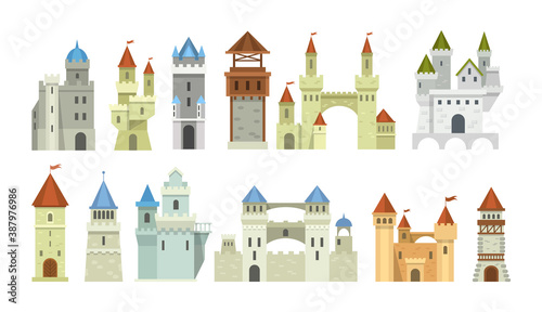 Castle medieval tower set. The fairytale medieval tower, facade mansion princess castle, fortified palace with gates, fabulous king citadel, medieval buildings, historical towered house