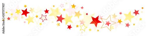 Weihnachten Sterne Bordüre Gold Gelb Rot Tableau sur Toile