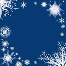 White Snowflakes On A Blue Background, Pattern