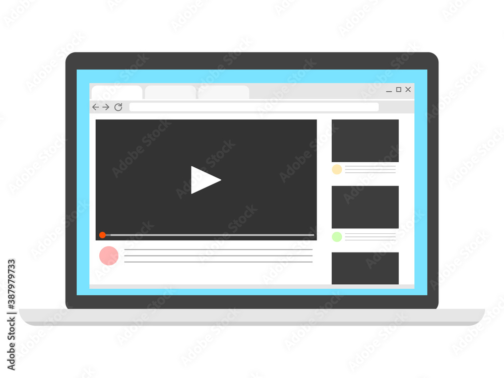 Fototapeta パソコンに表示された動画サイト