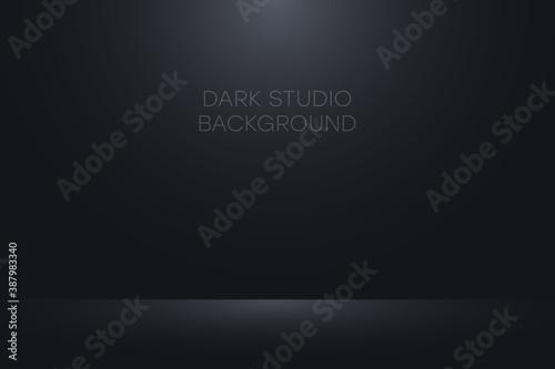 Fototapeta Black studio background. Realistic empty dark studio room. Background for product display show or place for presentation. Vector. obraz