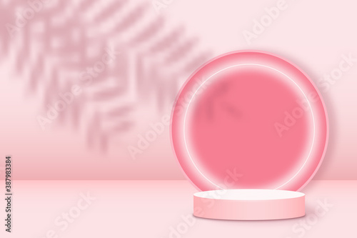 Obraz Realistic pink platform with palm leaves overlay shadow. Round stage with empty pedestal and neon light circle. 3d podium for product display show or place for presentation. Vector. - fototapety do salonu