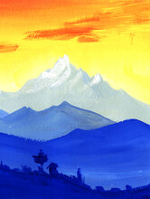 Beautiful Watercolor Landscape Of Blue Mountain Ranges On Background Of Sunset Fiery Sky With Brush Stroke Clouds. Vague Silhouettes Of Small Country Hidden In Wild Nature Against Snow-capped Peaks