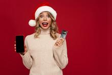 Excited Girl In Santa Claus Ha...
