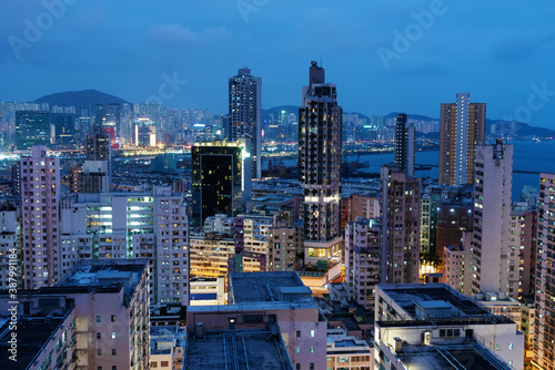 Fototapety, obrazy: Night scenery of downtown district of Hong Kong city