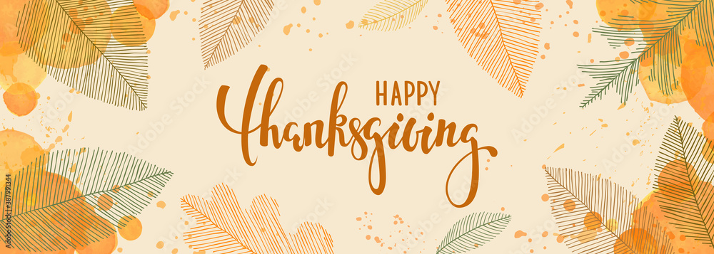 Fototapeta happy thanksgiving brush pen lettering. watercolor splash and linear leaves background. design holiday greeting card and invitation of seasonal american and canadian autumn holiday