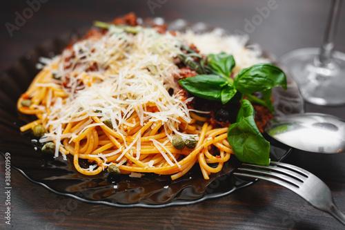 Fotografering Delicious spaghetti bolognese in a plate