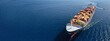 canvas print picture - Aerial drone panoramic ultra wide photo of industrial truck size container tanker ship cruising in open ocean deep blue sea