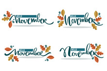 Vector Set Of Hello November, ...