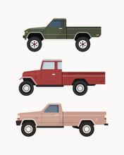 Vintage Pickup Truck. Set Of Pickup Truck Vector Illustration.