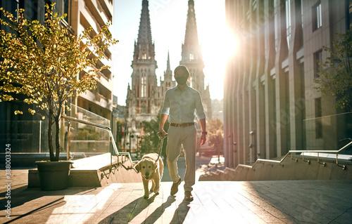 Obraz Man with dog in the city - fototapety do salonu