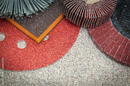 A set of abrasive tools and sandpaper for cleaning or sanding various objects Wallpaper Mural
