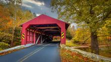 A Rustic, Red Covered Bridge I...