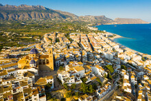 Aerial View Of Cityscape Of Spanish City Of Altea On Mediterranean Costa Blanca In Sunny Fall Day, Province Of Alicante..