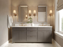 3d Classic Luxury Contemporary Chic Beige  Bathroom With Two Rectangle Brass Mirrors And A Dark Wood Cabin