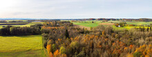 View From Above On The Autumnally Leafy Leaves Of The Flood Plains Near Hiltenfingen