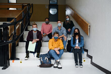 Front View Of Young Students W...